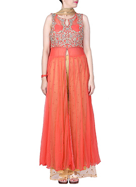 Orange Net Front Slit Palazzo Suit