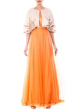 Orange Net Jacket Style Anarkali Gown