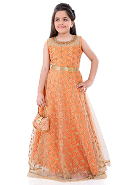 Orange Net Kids Anarkali Gown