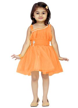 Orange Net Kids Dress