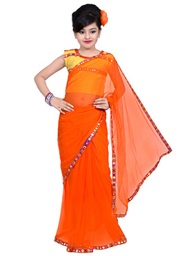 Orange Net Kids Saree