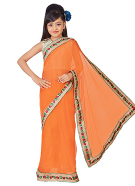 Orange Net Kids Saree