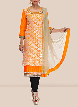 Orange Net Layered Churidar Suit
