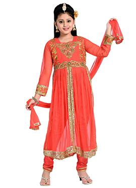 Orange Net N Satin Teens Anarkali Suit