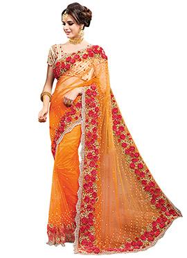 Orange Net Saree