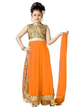 Orange Net Teens Palazzo Suit