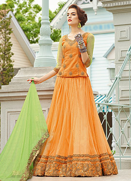 Orange Net Umbrella Lehenga