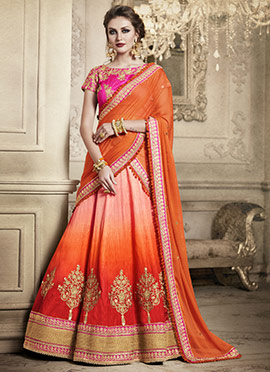 Orange Ombre Art Silk Umbrella Lehenga