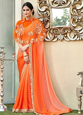 Orange Ombre Chiffon Border Saree