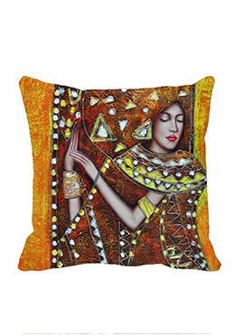 Orange Ornament Lady Cushion Cover