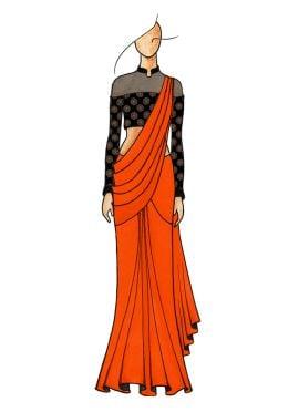 Orange Plain Saree with Gorgeous Half N Half Close