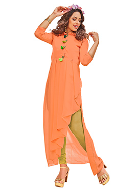 Orange Poly Cotton Long Kurti