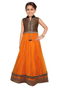 Orange Polyester Net Girls Gown