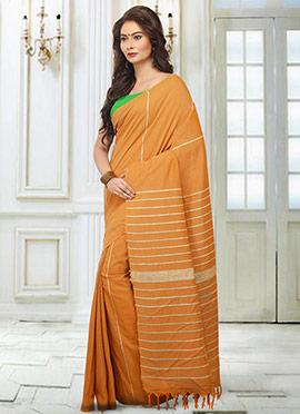 Orange Printed Handloom Saree