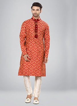 Orange Printed Kurta Pyjama Set