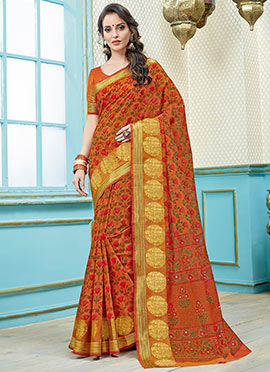 Orange Printed Saree