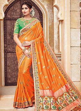 Orange Pure Benarasi Silk Saree