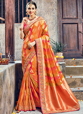 Orange Pure Benarasi Silk Saree