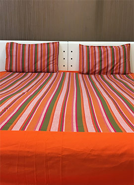 Orange Pure Cotton Bed Sheet