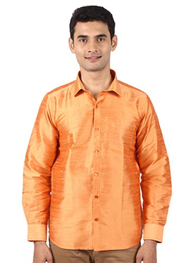 Orange Pure Dupion Silk Shirt