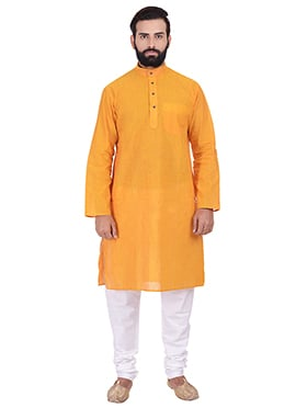 Orange Pure Handloom Cotton Kurta Pyjama