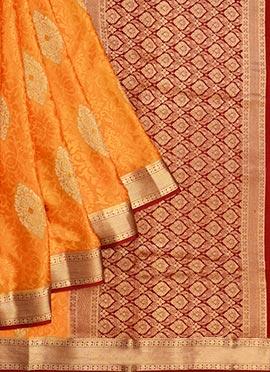 Orange Pure Handloom Mysore Silk Saree