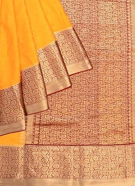 Orange Pure Mysore Silk Saree