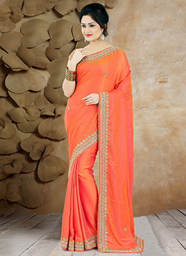 Orange Pure Handloom Silk Saree