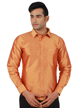 Orange Pure Raw Silk Shirt