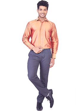 Orange Pure Silk Classic Shirt