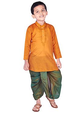 Orange Pure Silk Kids Dhoti Kurta