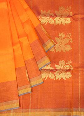 Orange Pure Silk Pothys Saree
