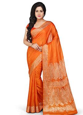Orange Pure Silk Woven Saree