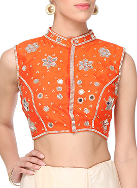 Orange Purple Oyster Embellished Blouse
