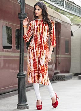 Orange Rayon Cotton Kurti