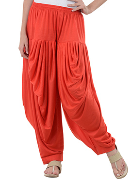 Orange Rayon Dhoti Pant