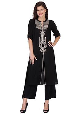 Black Rayon Printed Palazzo Suit