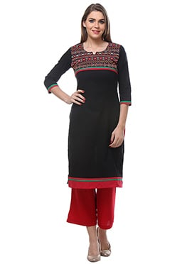 Black Blended Cotton N Rayon Palazzo Suit