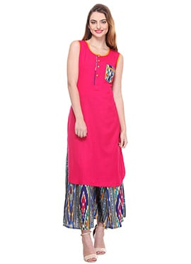 Pink Blended Cotton N Jute Palazzo Suit