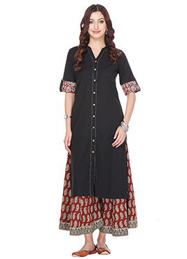 Black Blended Cotton N Jute Palazzo Suit