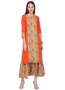 Orange Rayon N Blended Cotton Palazzo Suit