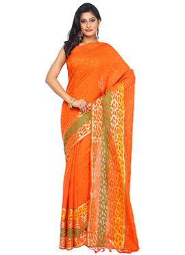 Orange Resham Woven Blended Cotton Saree