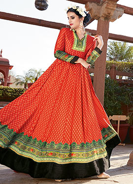 Orange Satin Abaya Style Anarkali Suit