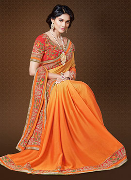 Orange Satin Border Saree