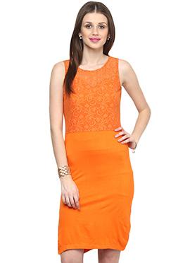 Orange Shakumbhari Embroidered Bodycon Dress