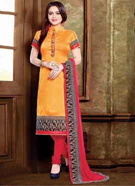 Orange Silk Blend Churidar Suit