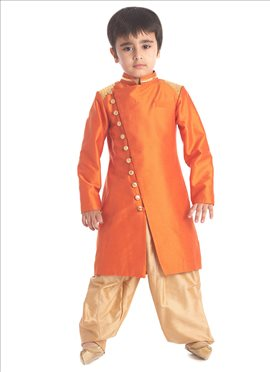 Orange Silk Cotton Kids Sherwani