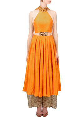 Orange Silk Palazzo Suit