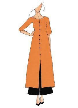 Orange Straight Kurthi Palazzo Suit