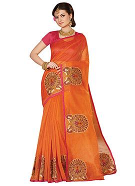 Orange Super Net Saree